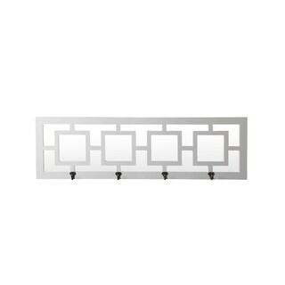 4 Hook Wall Mirror - Glossy White