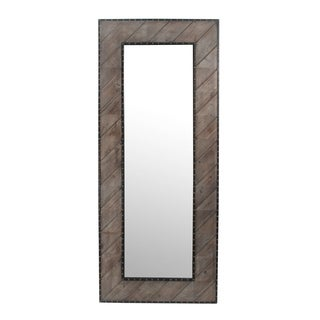 Wooden Leaner Mirror with Nail Heads
