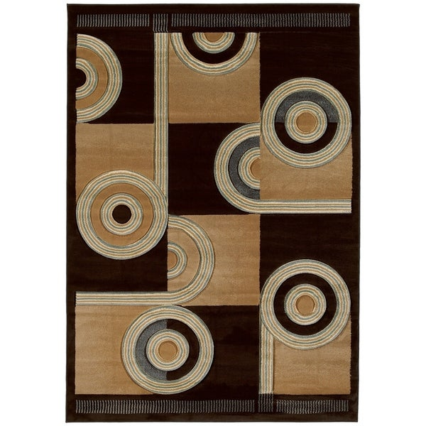Westfield Home Sculptures Ira Chocolate Hand Carved Area Rug - 5'3 x 7'6