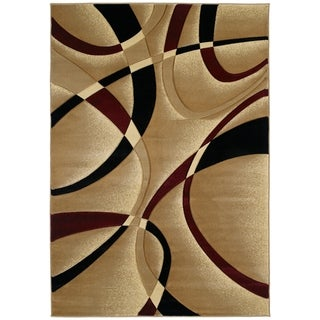 Westfield Home Sculptures Indira Burgundy/Multicolor Hand-carved Area Rug (5'3 x 7'6)