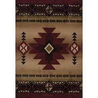 Westfield Home Sculptures Claiabelle Burgundy Hand Carved Area Rug - 5'3 x 7'6