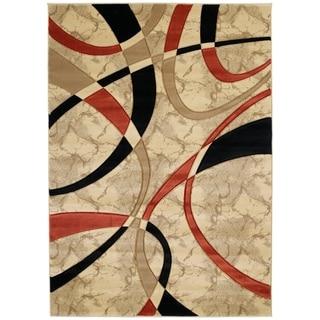 Westfield Home Sculptures Indira Cream/Multicolor Olefin Hand-carved Area Rug (5'3 x 7'6)