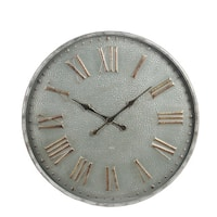 Privilege Grey Metal Glass Round Wall Clock
