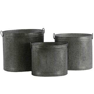 UTC42106 Metal Planter Galvanized Finish Silver