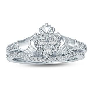 Cali Trove 1/3 Carat Round Diamond Claddagh Bridal Set In White Gold.