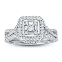 Cali Trove 1/2 Carat Round & Baguette Diamond Composite Bridal Set In 10K White Gold.