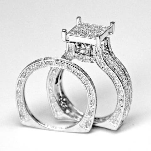 Sterling Silver 4/5 TDW Pave Diamond Cluster Wedding Ring