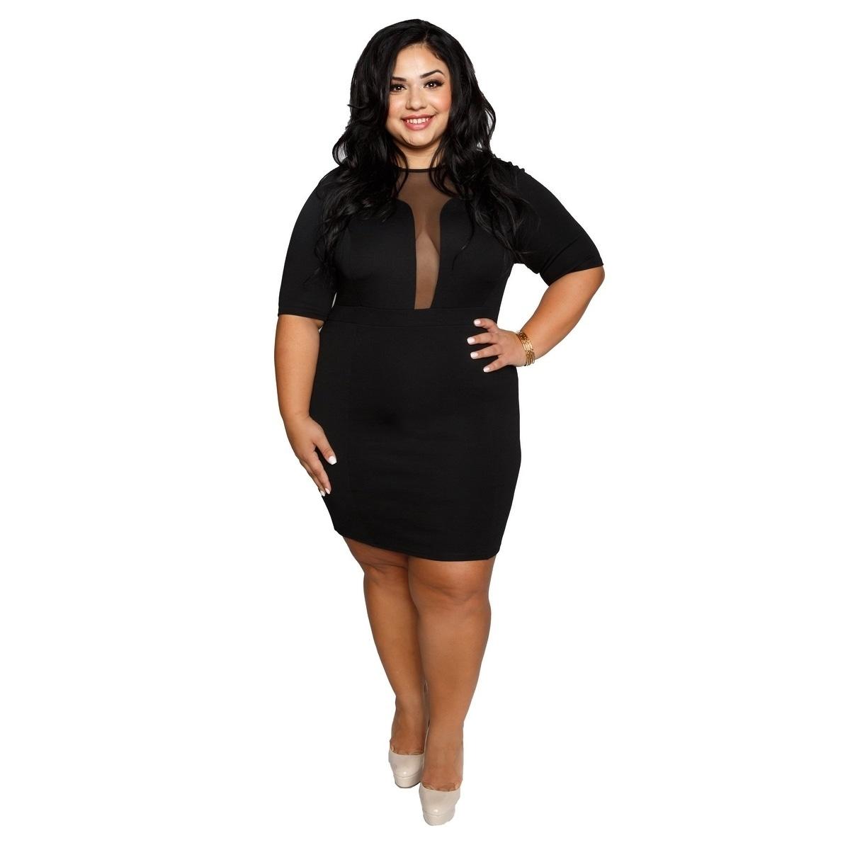 Xehar Womens Plus Size Mesh Illusion Neckline Bodycon Dress