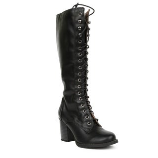 Xehar Womens Chunky Block Heels Lace Up Knee High Boot