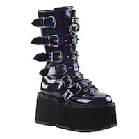DEMONIA DAMNED-225 Women's Side Zipper Lace Up Buckle Straps Mid-Calf Boot