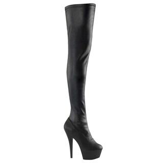 Pleaser Women's 'Kiss-3000' Black Patent Thigh-high Stiletto Boots