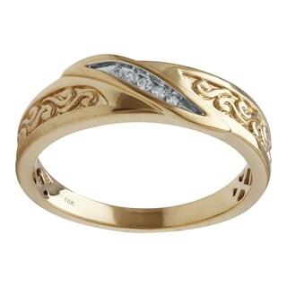 10K Yellow Gold Diamond Accent Men's Wedding Ring - White