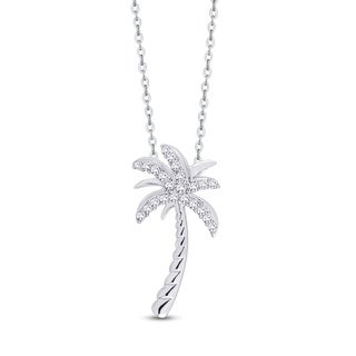 Sterling Silver 1/10ct TDW Diamond Palm Tree Pendant (G-H, I2-I3)