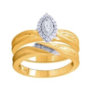 14K  Yellow and White Gold 1/4cttw Diamond Engagement Wedding Ring Set - White I-J