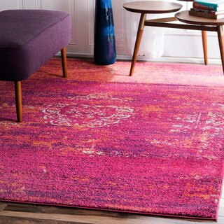 nuLOOM Traditional Overdyed Medallion Fuchsia Rug  (5' x 7'5) (As Is Item)