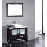 36 inch Wood & Porcelain Vessel Vanity Set with Brushed Nickel faucet.