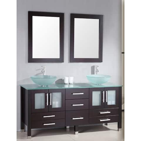 63 inch Wood & Glass Double Vanity Set with Brushed Nickel faucet.