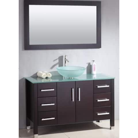 48 inch Wood & Glass Vessel Vanity Set with Brushed Nickel faucet.