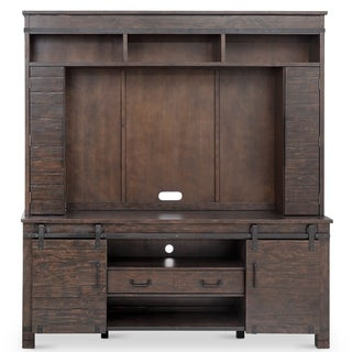 Pine Hill Industrial Rustic Pine Entertainment Wall