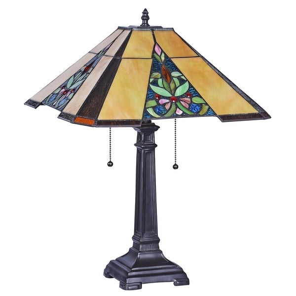 Chloe Roberta Collection Tiffany Style 2-light Blackish Bronze Table Lamp