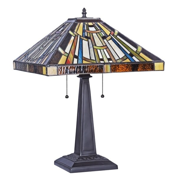 Chloe Falkner Collection Tiffany Style 2-light Blackish Bronze Table Lamp