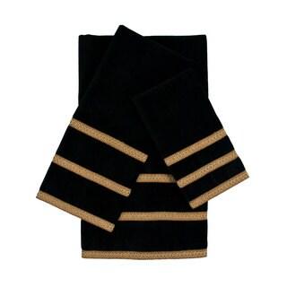 Sherry Kline Triple Row Gimp Black 3-piece Decorative Embellished Towel Set in Black (As Is Item)