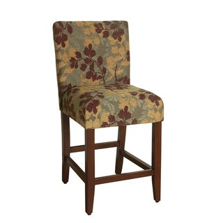 HomePop 24-inch Counter Height Tan Sage Leaf Upholstered Barstool (As Is Item)