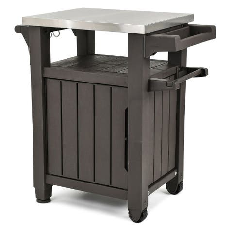 Keter Unity Indoor Outdoor Serving Cart Prep Station with Storage - N/A