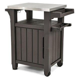 Keter Unity Indoor Outdoor Serving Cart Prep Station with Storage