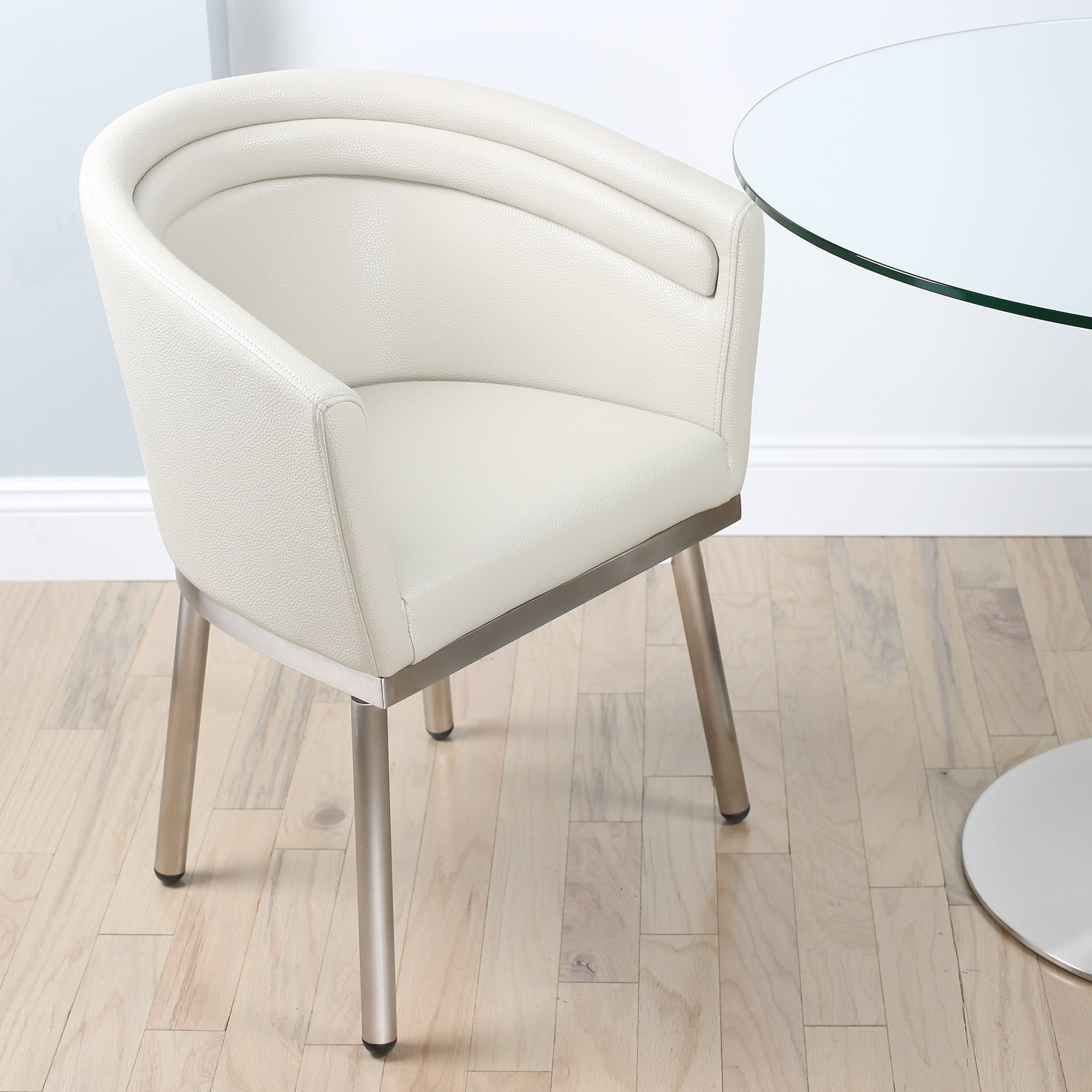 Mix Memory Brushed Stainless Steel Faux Leather Swivel Dining Chair
