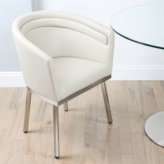 MIX Memory Brushed Stainless Steel/Faux Leather Swivel Dining Chair