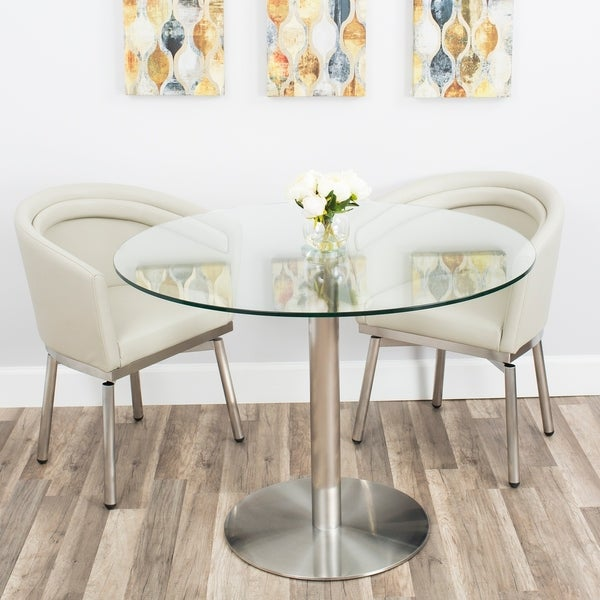 Glass Kitchen Tables For Sale: Shop MIX Tempered Glass 40-inch Diameter Dining Table With
