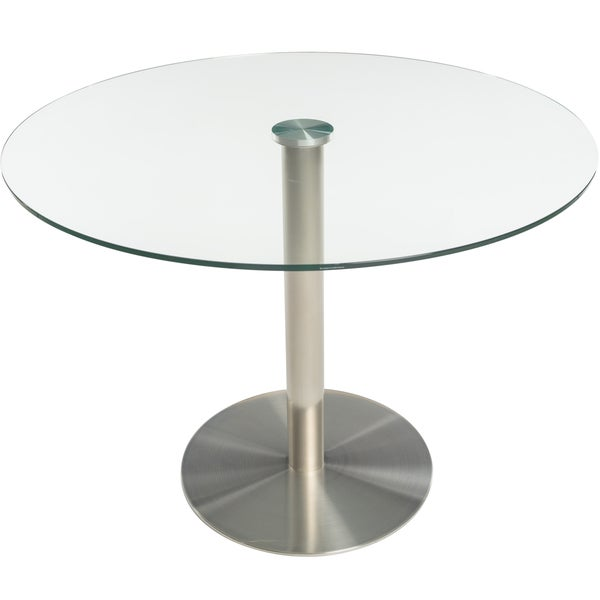 MIX Tempered Glass 40 Inch Diameter Dining Table With Brushed Stainless  Steel Base