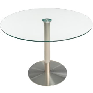 MIX Tempered Glass 40-inch Diameter Dining Table with Brushed Stainless Steel Base - N/A - N/A