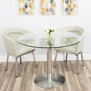 MIX Tempered Glass 40-inch Diameter Dining Table with Brushed Stainless Steel Base