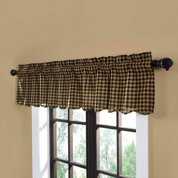 Shop Primitive Kitchen Curtains VHC Check Valance Rod Pocket ...