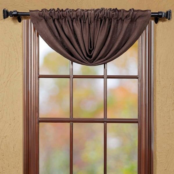 shop farmhouse kitchen curtains vhc burlap chocolate balloon valance rod pocket cotton solid