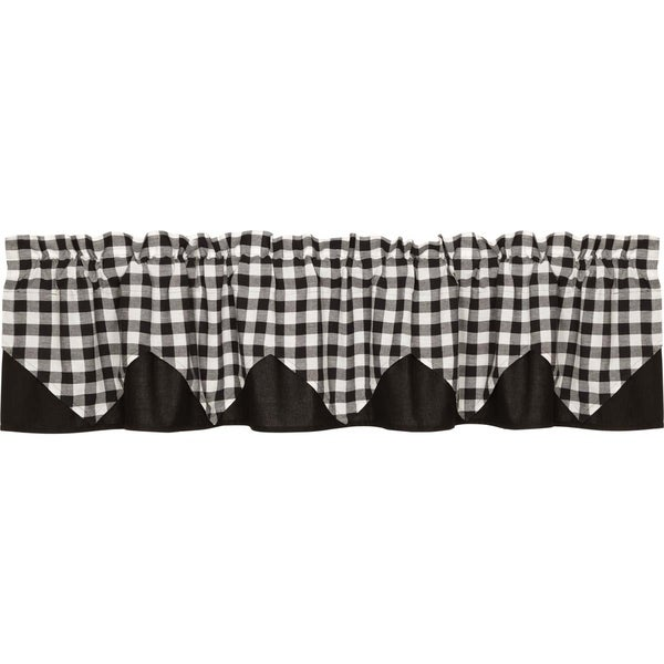 "Buffalo Black Check Layered Lined Valance - 16"" x 72"""