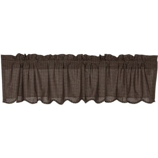 """Kettle Grove Scalloped Lined Plaid Valance - 16"""" x 72"""""""
