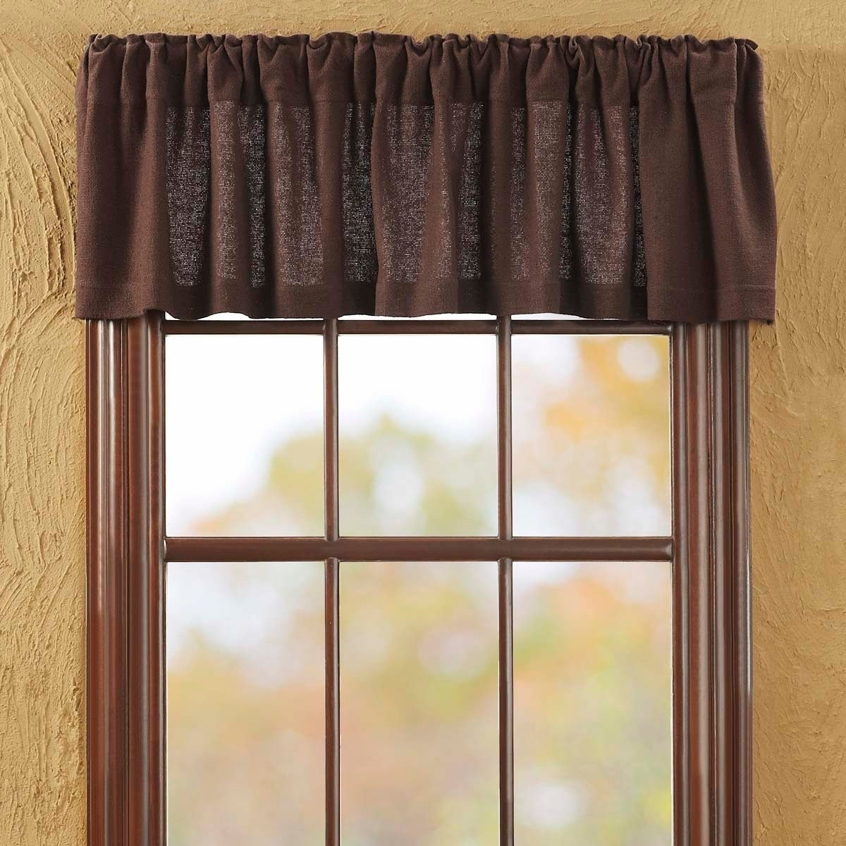 Farmhouse Kitchen Curtains VHC Cotton Burlap Valance Rod Pocket Solid Color