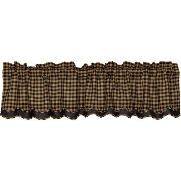 Primitive Kitchen Curtains VHC Check Valance Rod Pocket Cotton