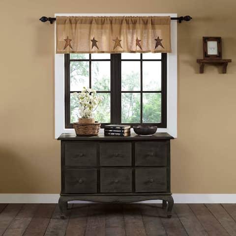 Tan Primitive Kitchen Curtains VHC Stratton Burlap Star Valance Rod Pocket Cotton Star Appliqued Cotton Burlap - 16x60