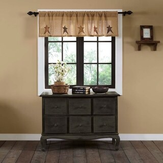 "Stratton Burlap Applique Star Valance - 16"" x 60"""