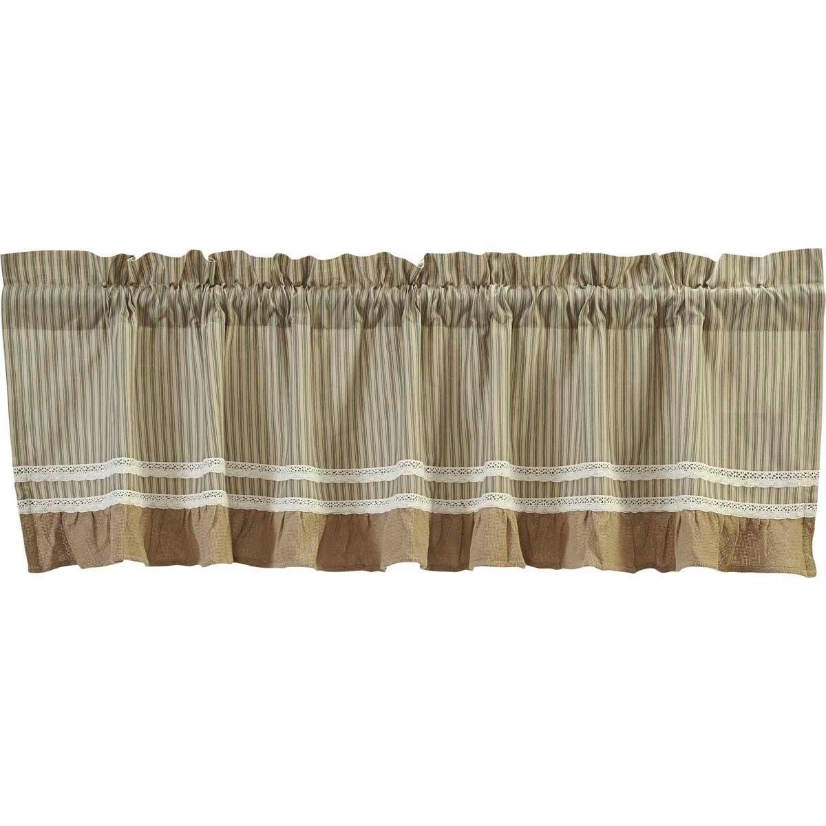 Details about Farmhouse Kitchen Curtains VHC Kendra Stripe Valance Rod