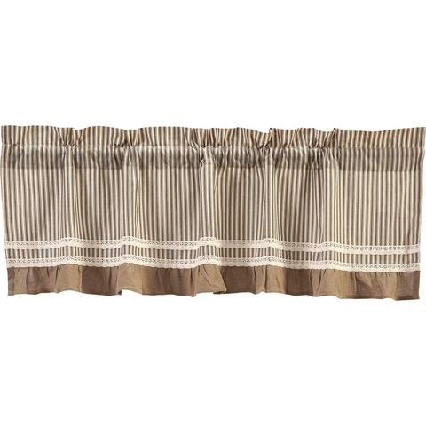 Farmhouse Kitchen Curtains VHC Kendra Stripe Valance Rod Pocket Cotton Striped Lace Cotton Burlap