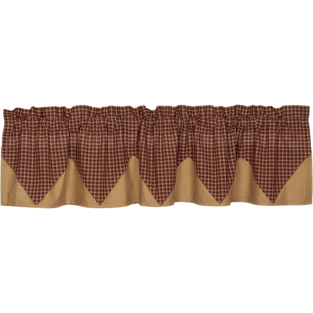 VHC Brands Patriotic Patch Layered Lined Plaid Valance - ...