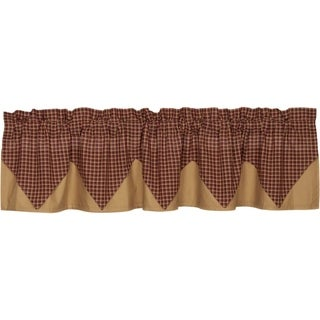 "Patriotic Patch Layered Lined Plaid Valance - 16"" x 72"""