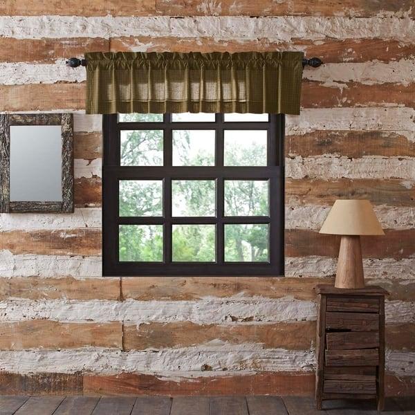 Shop Green Rustic Kitchen Curtains VHC Tea Cabin Green Plaid ...