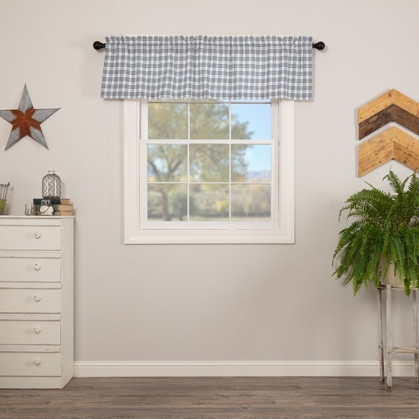 Charmant Farmhouse Kitchen Curtains VHC Sawyer Mill Plaid Valance Rod Pocket Cotton