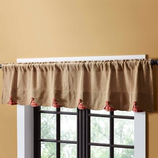 Burlap w/ Check Scalloped Valance (More options available)